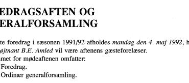 FOREDRAGSAFTEN OG GENERALFORSAMLING 1992