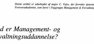 Hvad er Management- og Forvaltningsuddannelse ?