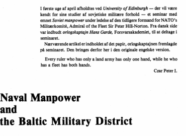 Naval Manpower and the Baltic Military District