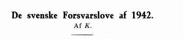 De svenske Forsvarslove af 1942