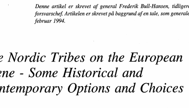 The Nordic Tribes on the European Scene - Some Historical and Contemporary Options and Choices