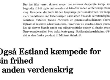 Også Estland kæmpede for sin frihed i anden verdenskrig