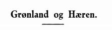 Grønland og Hæren