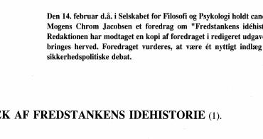TRÆK AF FREDSTANKENS IDEHISTORIE