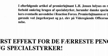 STØRST EFFEKT FOR DE FÆRRESTE PENGE BRUG SPECIALSTYRKER!
