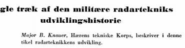 Nogle træk af den militære radartekniks udviklingshistorie