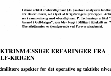 DOKTRINMÆSSIGE ERFARINGER FRA GOLF-KRIGEN