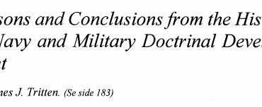 Lessons and Conclusions from the History of Navy and Military Doctrinal Development