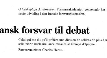 Fransk forsvar til debat