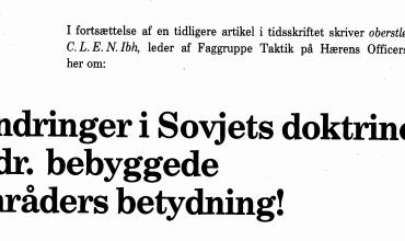 Ændringer i Sovjets doktriner vedr. bebyggede områders betydning!