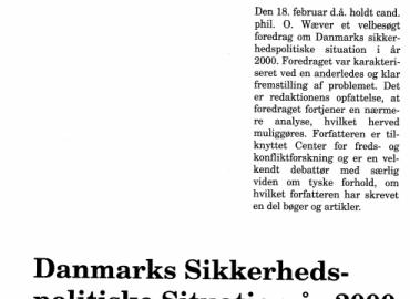 Danmarks Sikkerheds politiske Situation år 2000