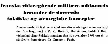 Den franske videregående militære uddannelse, herunder de docerede taktiske og strategiske koncepter