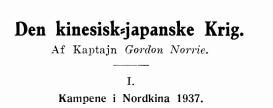 Den kinesisk-japanske Krig I