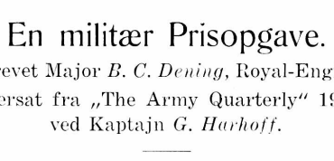 En militær Prisopgave - 2