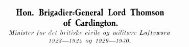 Hon. Brigadier-General Lord Thomson of Cardington