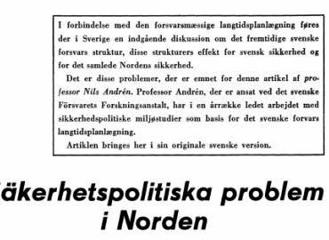 Såkerhetspolitiska problem i Norden