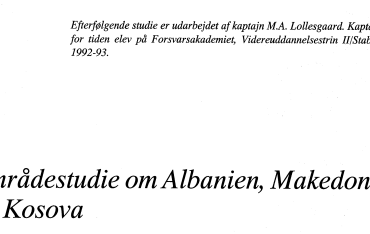 Områdestudie om Albanien, Makedonien og Kosova