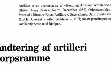 Håndtering af artilleri i korpsramme