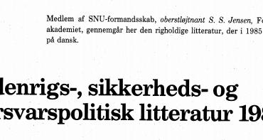 Udenrigs-, sikkerheds- og forsvarspolitisk litteratur 1985