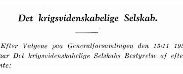Det krigsvidenskabelige Selskabs Bestyrelse 1937