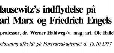 Clausewitz's indflydelse på Karl Marx og Friedrich Engels