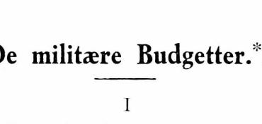 De militære Budgetter