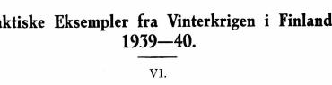 Taktiske Eksempler fra Vinterkrigen i Finland 1939-40