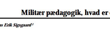 Militær pædagogik, hvad er det?