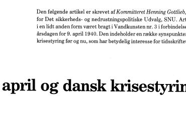 9. april og dansk krisestyring