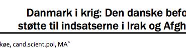 Danmark i krig: Den danske befolknings støtte til indsatserne i Irak og Afghanistan