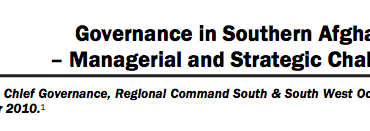 Governance in Southern Afghanistan – Managerial and Strategic Challenges