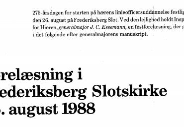 Forelæsning i Frederiksberg Slotskirke 26. august 1988