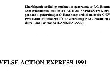 ØVELSE ACTION EXPRESS 1991