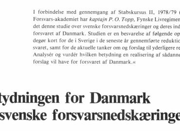 Betydningen for Danmark af svenske forsvarsnedskæringer