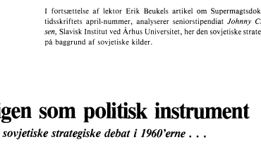 Krigen som politisk instrument - den sovjetiske strategiske debat i I960'erne . . .
